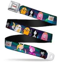 Adventure Time Logo White Full Color Adventure Time Characters5 Blue Swirls Seatbelt Belt