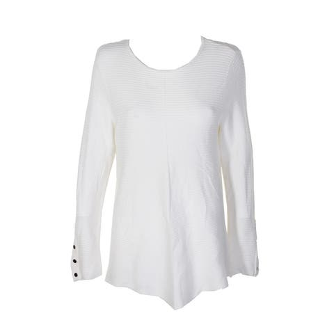 Alfani Ivory Ribbed Snap-Detail Sweater M
