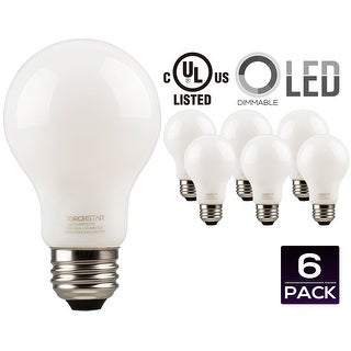 LED Dimmable A19 Frosted Glass Filament Light Bulb, 4.5W (40W Equivalent) Decorative Milky Light Bulb, UL-listed, 2700K