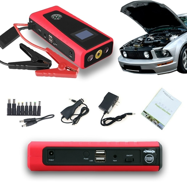 Indigi® Auto Jump Starter Mobile Power Bank 12000mAh Cellphone + Laptop Backup Power Source - black | red