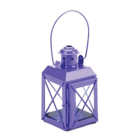 Set of 2 Purple Trolley Lantern Candle Lamps