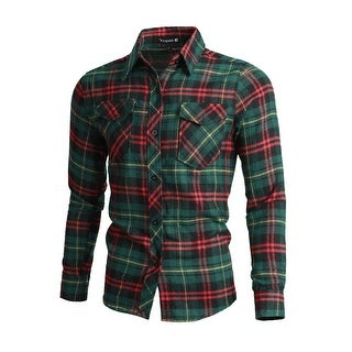 Men Long Sleeves Check Print Button Up Flannel Shirt