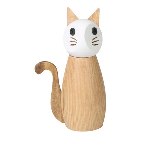 Peterson House Cat Salt or Pepper Mill - Wooden Spice Grinder - Brown