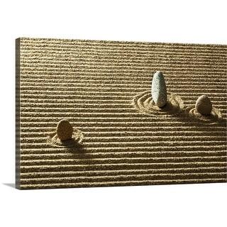 """Zen stone on sand"" Canvas Wall Art"