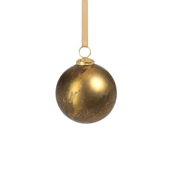 """4"""" Rustic Metallic Glass Ball Ornaments-Gold, Set of 6. Opens flyout."""