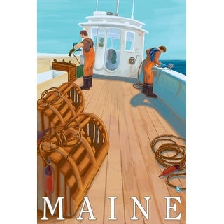 Maine - Lobster Fishing - Lantern Press Artwork (Playing Card Deck - 52 Card Poker Size with Jokers)