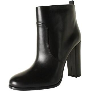 Prada Womens Leather Block Heel Ankle Boots