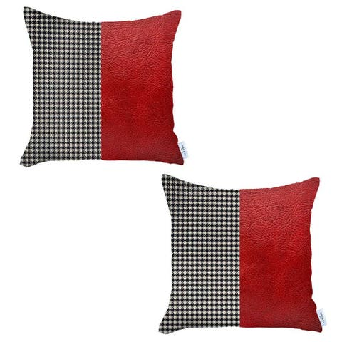 Boho-Chic DecorativeVeganFaux Leather Pillow Covers 2 PCS