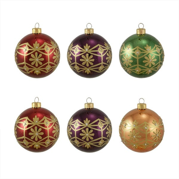 """6ct Glittered Earth Tone Floral Shatterproof Christmas Ball Ornaments 3.25"""" 80mm"""