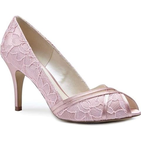 Pink Paradox London Women's Cherie Peep Toe Pump Blush Satin/Lace