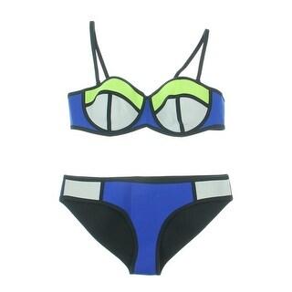Flora Vogue Womens Neoprene Colorblock Bikini Swimsuit - L