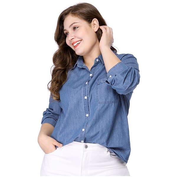 Shop Women\'s Plus Size Long Sleeve Chest Pocket Chambray ...