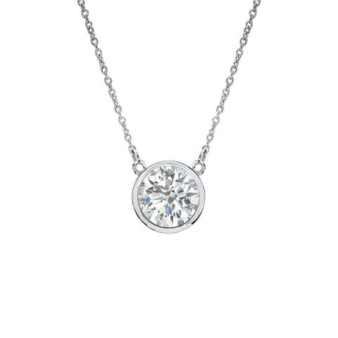 Auriya 1/3ctw Round Solitaire Diamond Necklace 14k Gold Bezel-set - 4.4mm