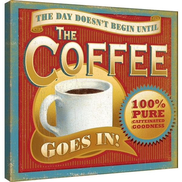 """PTM Images 9-100016 PTM Canvas Collection 12"""" x 12"""" - """"The Day Doesn't Begin"""" Giclee Coffee Art Print on Canvas"""