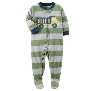 Carter's Baby Boy's 1 Piece Construction Fleece Pajamas, 6 Months - Dump Truck