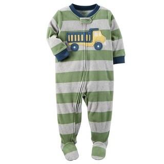 Carter's Little Boy's 1 Piece Construction Fleece Pajamas, 5-Toddler - dump truck