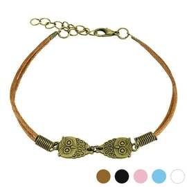 Owl Cast Iron Leatherette Bracelet with Lobster Claw Clasp (9.5 mm) - 7.5 in