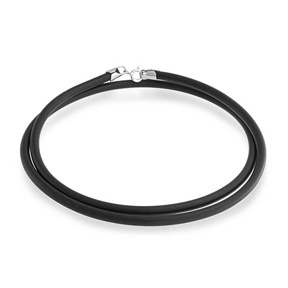 18/'/' 3mm Black Rubber Cord Stainless Steel Clasp Necklace Choker Chain