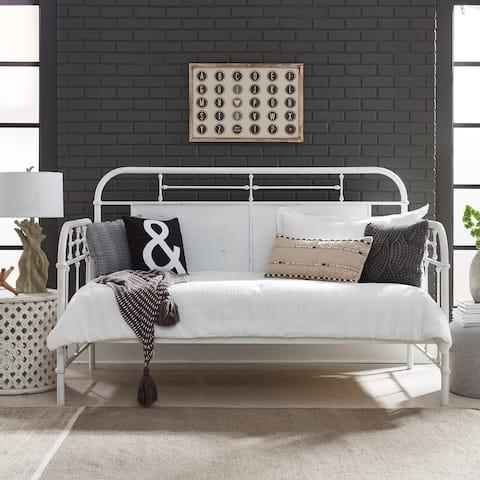 Carbon Loft Cauthen Vintage Series Antique White Twin Metal Day Bed