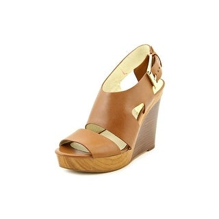 Michael Michael Kors Carla Platform Wedge Women Leather Brown Wedge Sandal