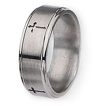 Chisel Ridged Edge Brushed and Polished Titanium Ring with Cross Design (8.0 mm)