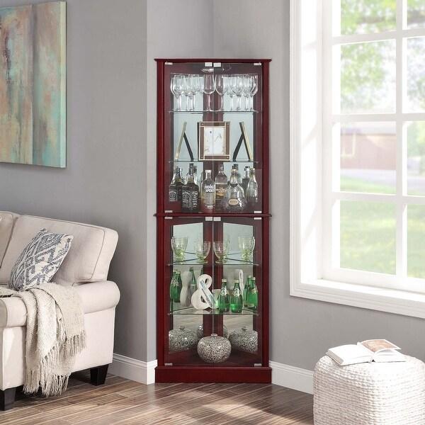 BELLEZE Woody Corner Curio Cabinet Glass Door 6 Shelves, Cherry - standard. Opens flyout.