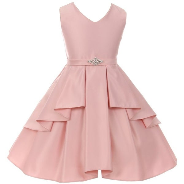 cee52f04d Shop Flower Girl Dress Solid Dull Satin Overlay Blush GG 3571 - Free  Shipping On Orders Over $45 - Overstock - 17752295