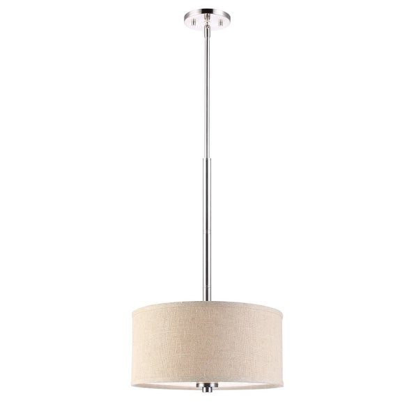"Woodbridge Lighting 13420STN-S11501 35"" Height 3 Light Drum Pendant with Beige Shade and Satin Nickel Finish - satin nickel"