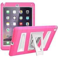 i-Blason,iPad Air 2 Case, Armorbox Protective Kickstand Case with Built-in Screen for iPad AIr 2 Case-Pink/White