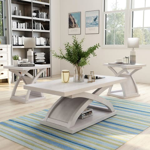 Furniture of America Hali White Coffee Table Set With 2 End Tables