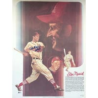 Stan Musial St. Louis Cardinals Signed 18x24 Coca Cola Lithograph HOF 69 BAS