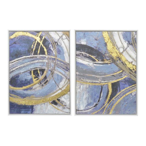 Plutus Brands Painting W/frame Set Of 2 in Multi-Colored Natural Fiber