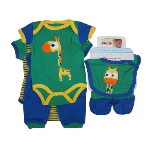 Nuby Baby Boys Blue Green Giraffe Bodysuit Pants Bib Booties 5 Pc Set
