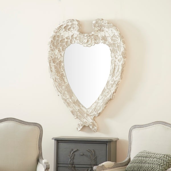 Oversized Vintage Style Heart Shaped Wall Mirror w Distressed Finish - 32 x 4 x 44. Opens flyout.