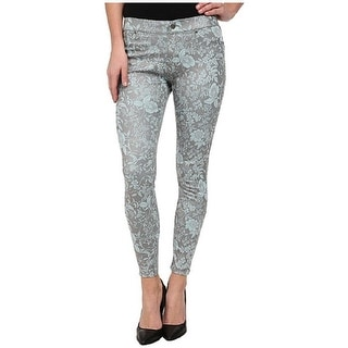 Hue Floral Metallic Super Smooth Denim Skimmer Jeans Jeggings - L
