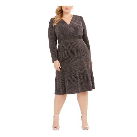 R&M RICHARDS Black Long Sleeve Knee Length Dress 16W