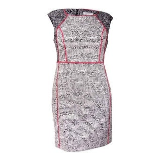 Calvin Klein Women's Piped Woven Sheath Dress - black/white/coral