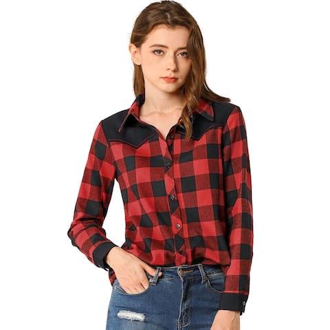 Allegra K Women's Buffalo Casual Relax Blouse Plaid Shirt - Black-Red