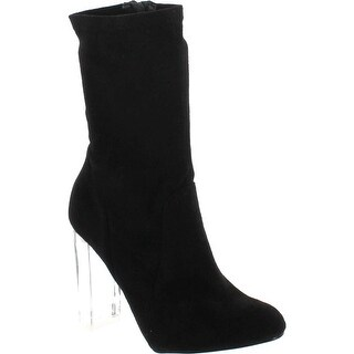 Above Ankle Dress Booties W Clear See Through Acrylic Lucite Block Heel