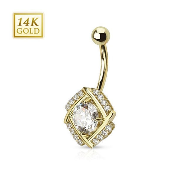 14 Karat Solid Yellow Gold Diamond Cut Round CZ Pronged in Multi Paved Windmill Navel Belly Button Ring