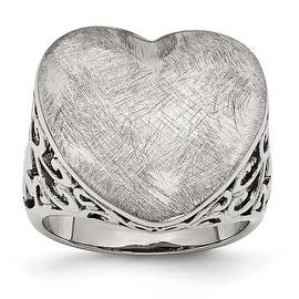 Chisel Stainless Steel Matte Heart Ring