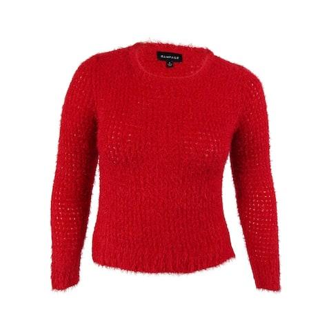 Rampage Juniors' Long Sleeves Metallic Open Knit Sweater