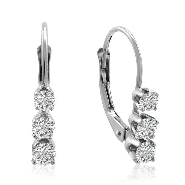 Amanda Rose AGS Certified 14K White Gold Three Stone Lever Back Earrings (1/2ct tw)