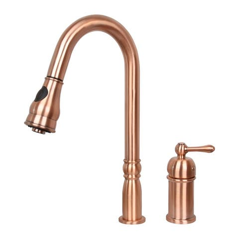 Copper Single-Handle Kitchen Sink Faucet with Pull Down Sprayer,High Arc Pull Down Kitchen Faucet with in-Deck Handle