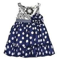 Lele Vintage Little Girls Blue Polka Dot Flower Accent Paisley Dress