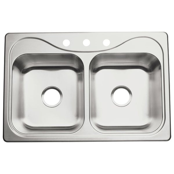 """Sterling 11401-3 Southhaven 33"""" Double Basin Drop In Stainless Steel Kitchen Sink with SilentShield® - STAINLESS STEEL"""