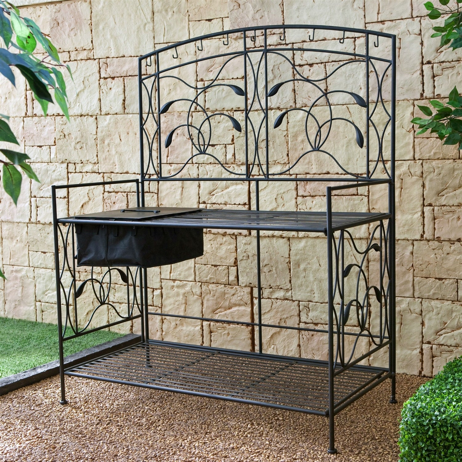 Potting Bench With Wrought Iron