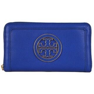 "Tory Burch Blue Leather Amanda Logo Zip Continental Clutch Wallet - 7.5"" x 4.25"""