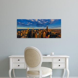 Easy Art Prints Panoramic Image 'Aerial cityscape at waterfront, Lake Michigan, Chicago, Cook, Illinois' Canvas Art