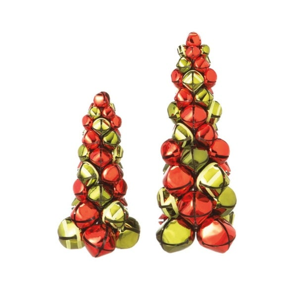 Set of 2 Decorative Red & Green Metal Jingle Bell Tabletop Christmas Trees - multi